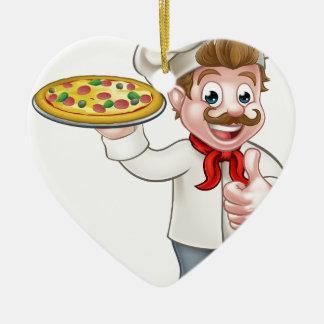Pizza Chef Cartoon Character Ceramic Heart Decoration
