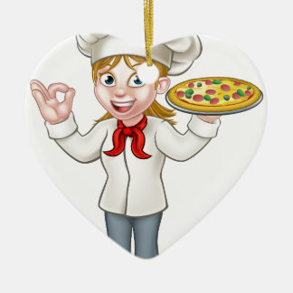 Pizza Chef Woman Cartoon Character Ceramic Heart Decoration
