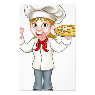 Pizza Chef Woman Cartoon Character Stationery