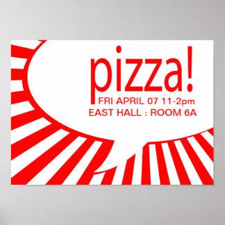 pizza! : comic speech bubble print