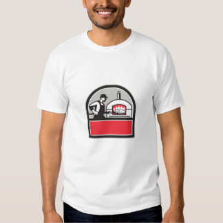 Pizza Cook Peel Wood Fired Oven Crest Retro Tee Shirt