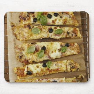 Pizza cut into pieces mouse mat
