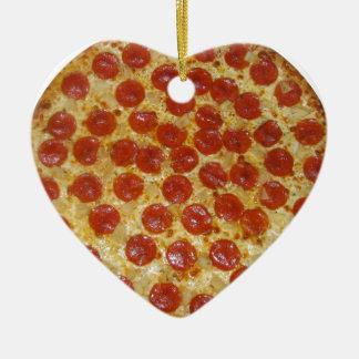 Pizza...Delicious Pepperoni Pizza Ceramic Heart Decoration
