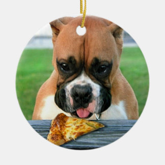 Pizza eating boxer dog ornament