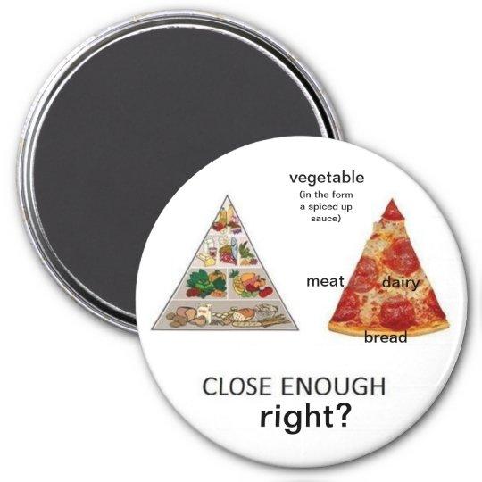 pizza food pyramid 7.5 cm round magnet