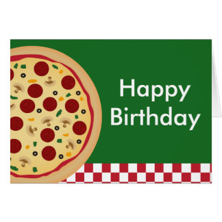 Pizza Happy Birthday Party Card