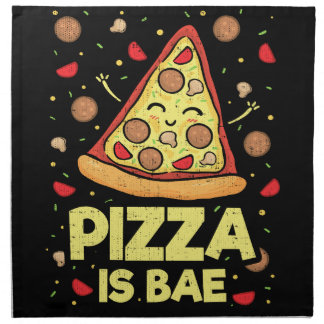 Pizza Is Bae - Cute Kawaii Funny Cartoon - Novelty Napkin