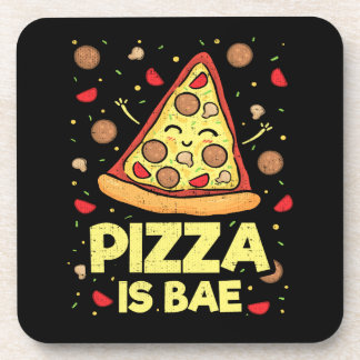 Pizza Is Bae - Funny Cartoon - Novelty Coaster