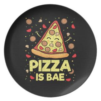Pizza Is Bae - Funny Cartoon - Novelty Plate