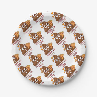 Pizza Is Life Poop Emoji 7 Inch Paper Plate