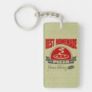 Pizza Double-Sided Rectangular Acrylic Key Ring