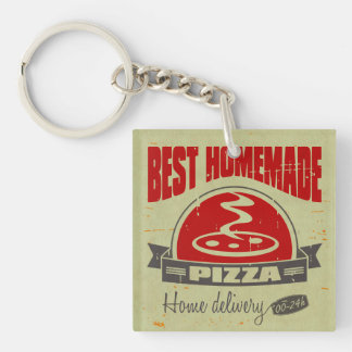 Pizza Single-Sided Square Acrylic Keychain