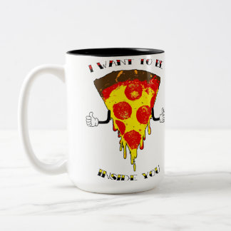 Pizza Loves You! Two-Tone Coffee Mug