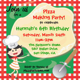 Pizza party invitations announcements zazzle uk pizza making birthday party invitation card stopboris Choice Image
