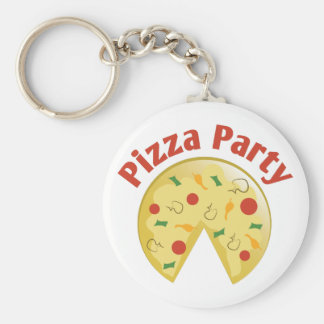 Pizza Party Basic Round Button Key Ring