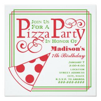 Pizza Party Birthday 13 Cm X 13 Cm Square Invitation Card