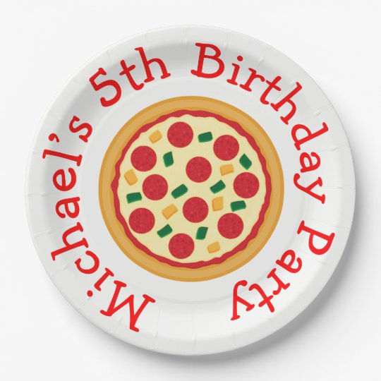 Pizza Party Birthday 9 Inch Paper Plate