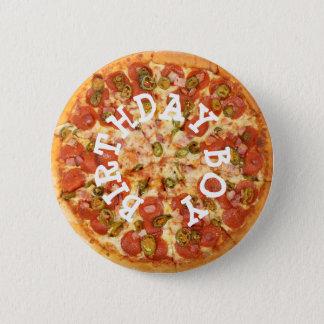 Pizza Party Birthday Boy Button