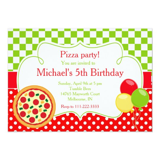 pizza party birthday invitation zazzle co uk