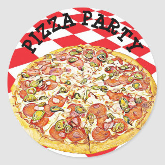 Pizza Party Birthday Stickers