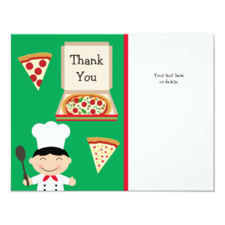 Pizza Party Birthday Thank You Card 11 Cm X 14 Cm Invitation Card