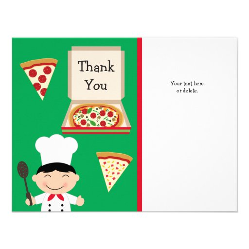 Pizza Party Birthday Thank You Card Announcement