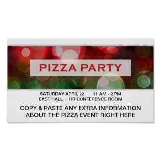 pizza party bokeh poster