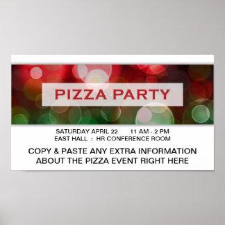 pizza party bokeh poster