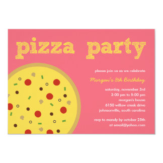 Pizza Party Invitation (Pink) Custom Invite