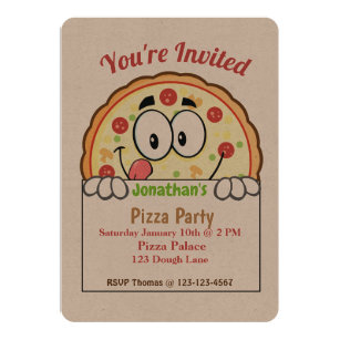 kids pizza party invitations announcements zazzle uk