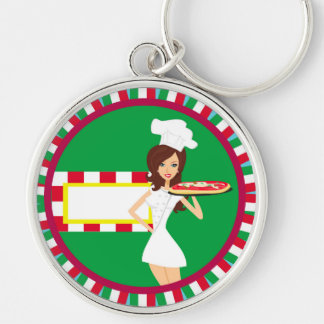 Pizza Party Key ring Silver-Colored Round Key Ring