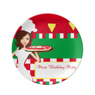 Pizza Party Porcelain Plate