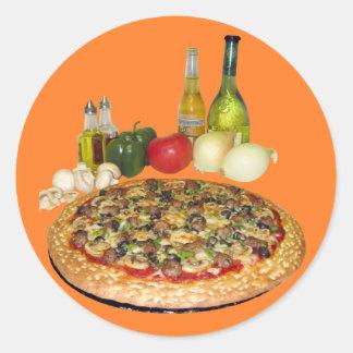 Pizza Party Round Sticker