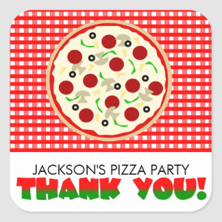 Pizza Party Thank You Favor Stickers