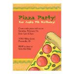 Pizza Party Themed Birthday Invitations
