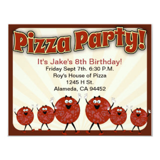 Pizza Party Time 11 Cm X 14 Cm Invitation Card