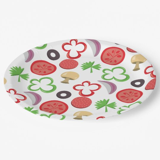 Pizza Party toppings paper plate