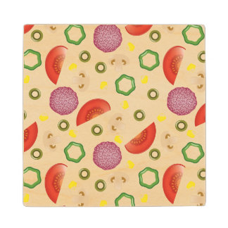 Pizza Pattern 2 Wood Coaster