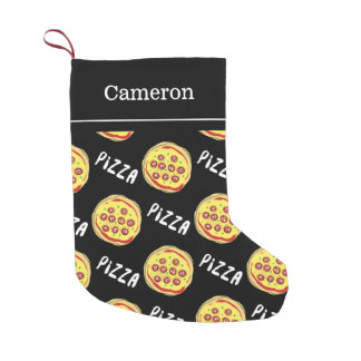 Pizza Pattern | Custom Name Small Christmas Stocking