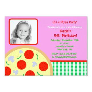 Pizza Photo Birthday Party Invitations