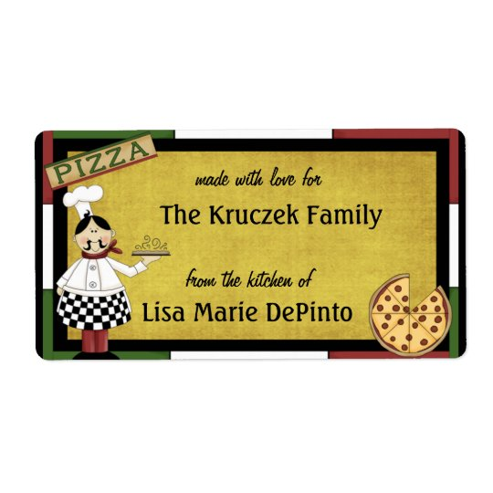 Pizza Pie Chef Food Preparation Labels