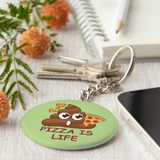 Pizza Poop Life Key Ring