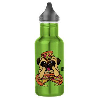 Pizza Pug custom name water bottles