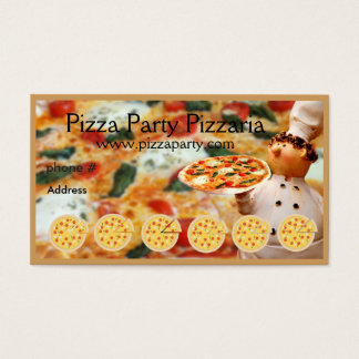 Pizza Restaurant Loyalty Punch Card Business Cards