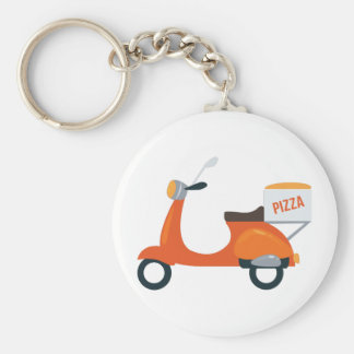 Pizza Scooter Basic Round Button Key Ring