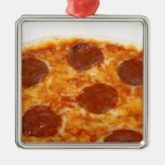Pizza Silver-Colored Square Decoration