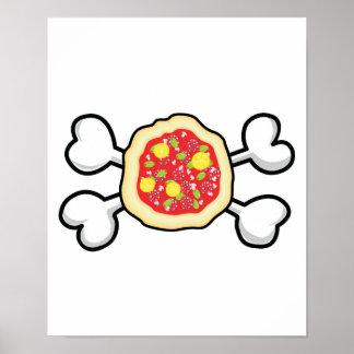 pizza Skull and Crossbones Poster