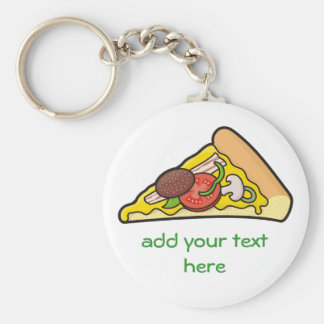 Pizza slice basic round button key ring