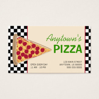 Pizza Slice & Black Checkerboard Pizza Business Card