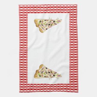 Pizza Slice Red Checks Border Tea Towel Dish Towel